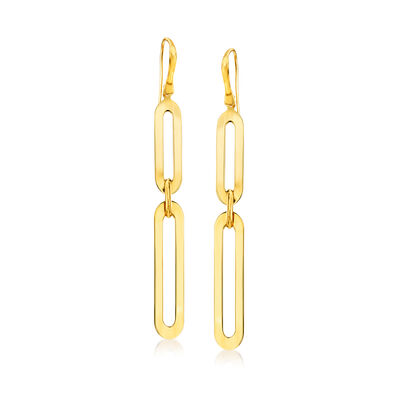 Italian 14kt Yellow Gold Paper Clip Link Drop Earrings