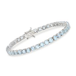 "9.00 ct. t.w. Blue Topaz Tennis Bracelet in Sterling Silver. 7"", , default"
