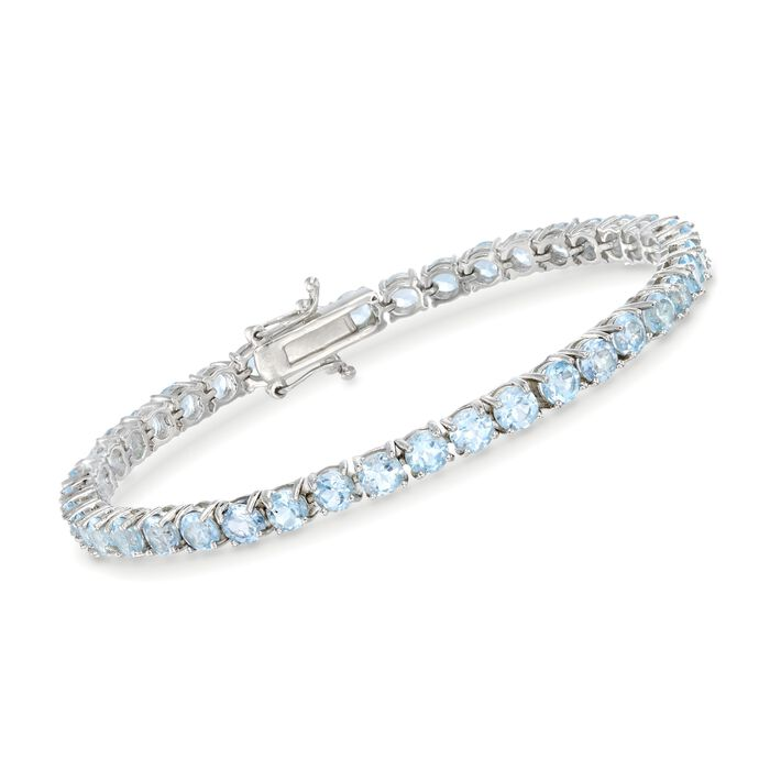 """9.00 ct. t.w. Blue Topaz Tennis Bracelet in Sterling Silver. 7"""", , default"""