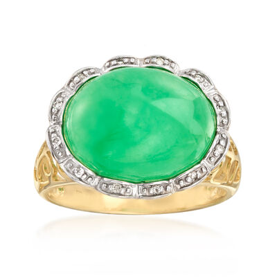 Jade Cabochon Ring with Diamond Accents in 14kt Yellow Gold, , default