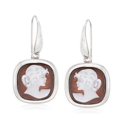 Italian Shell Cameo Drop Earrings in Sterling Silver, , default