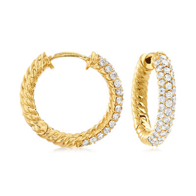 1.00 ct. t.w. Diamond Twisted Hoop Earrings in 18kt Gold Over Sterling