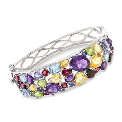 21.70 ct. t.w. Multi-Stone Bangle Bracelet in Sterling Silver, , default