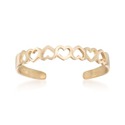 14kt Yellow Gold Openwork Hearts Toe Ring, , default