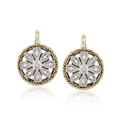Andrea Candela Two-Tone Round Floral Earrings with Diamond Accents