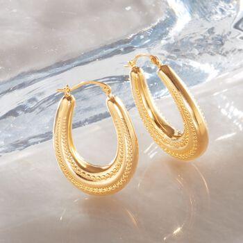 """Andiamo 14kt Yellow Gold Beaded Oval Hoop Earrings. 1"""", , default"""