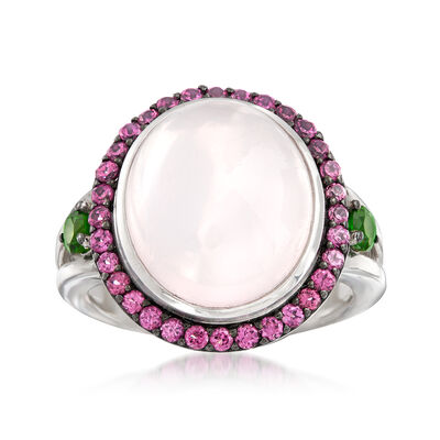 Pink Chalcedony and .80 ct. t.w. Mixed Gemstone Ring in Sterling Silver, , default