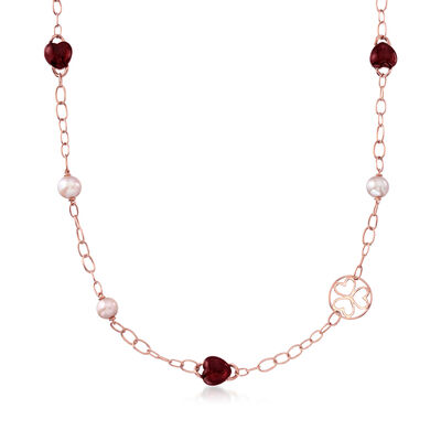 C. 2000 Vintage Mimi Milano 9x10.5mm Violet Cultured Pearl and 35.00 ct. t.w. Garnet Station Necklace in 18kt Rose Gold