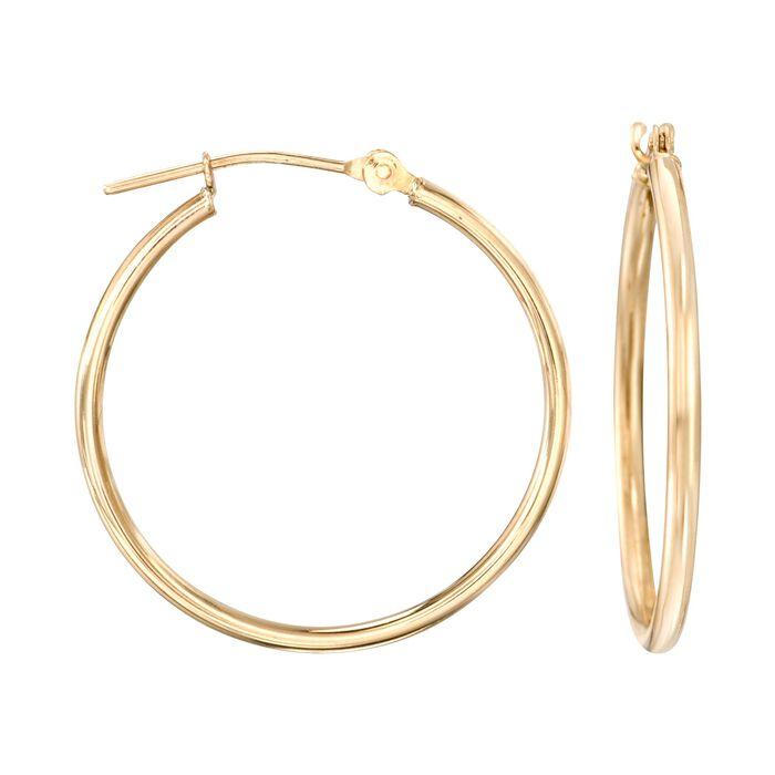 "15mm 14kt Yellow Gold Small Hoop Earrings. 5/8"", , default"