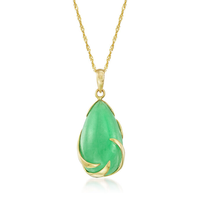 Pear-Shaped Green Jade Cabochon Necklace in 14kt Yellow Gold
