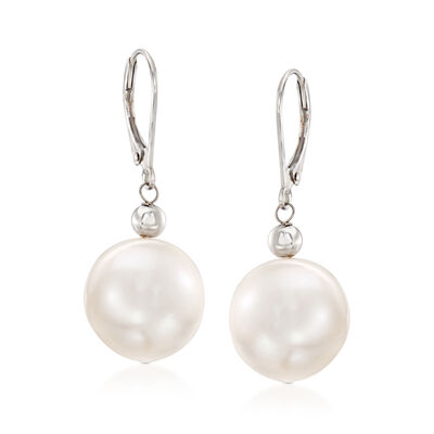 13-14mm Cultured Pearl Drop Earrings in 14kt White Gold, , default