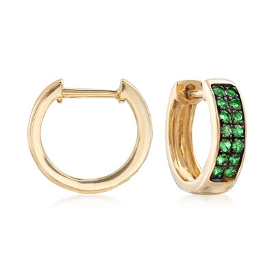 .20 ct. t.w. Tsavorite Huggie Hoop Earrings in 14kt Yellow Gold, , default