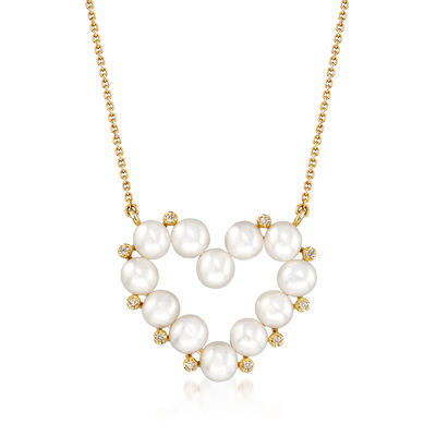 4mm Cultured Pearl Heart Necklace in 14kt Yellow Gold with Diamond Accents, , default