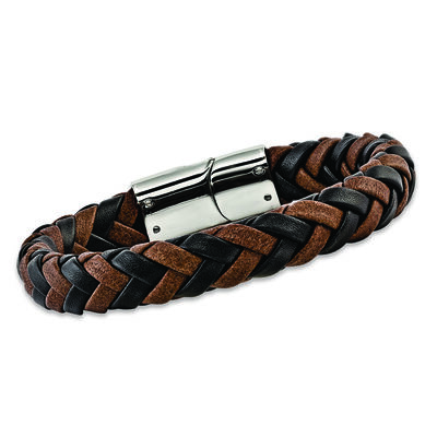 Men's Black and Brown Leather Bracelet with Sterling Silver, , default