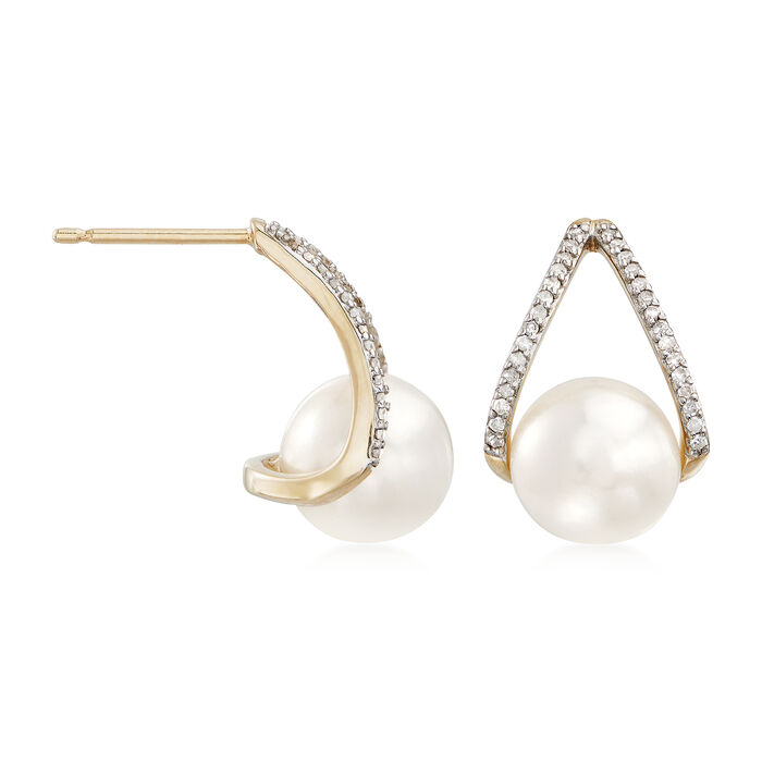 8-8.5mm Cultured Pearl and .12 ct. t.w. Diamond Drop Earrings in 14kt Yellow Gold