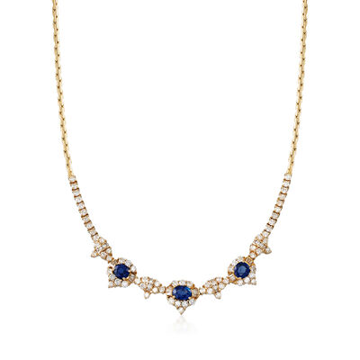 C. 1980 Vintage 4.60 ct. t.w. Diamond and 4.09 ct. t.w. Sapphire Necklace in 18kt Yellow Gold, , default