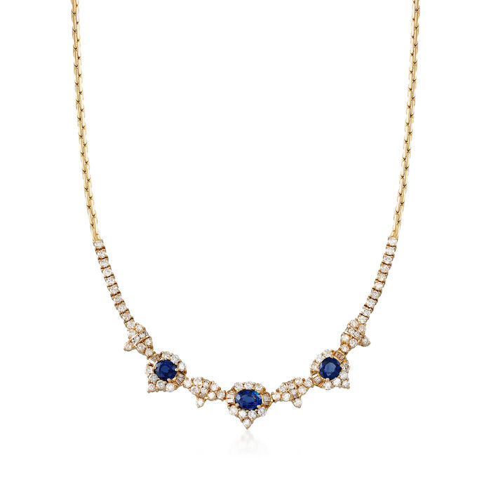 """C. 1980 Vintage 4.60 ct. t.w. Diamond and 4.09 ct. t.w. Sapphire Necklace in 18kt Yellow Gold. 16"""""""