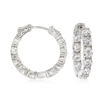 10.00 ct. t.w. CZ Inside-Outside Hoop Earrings in Sterling Silver