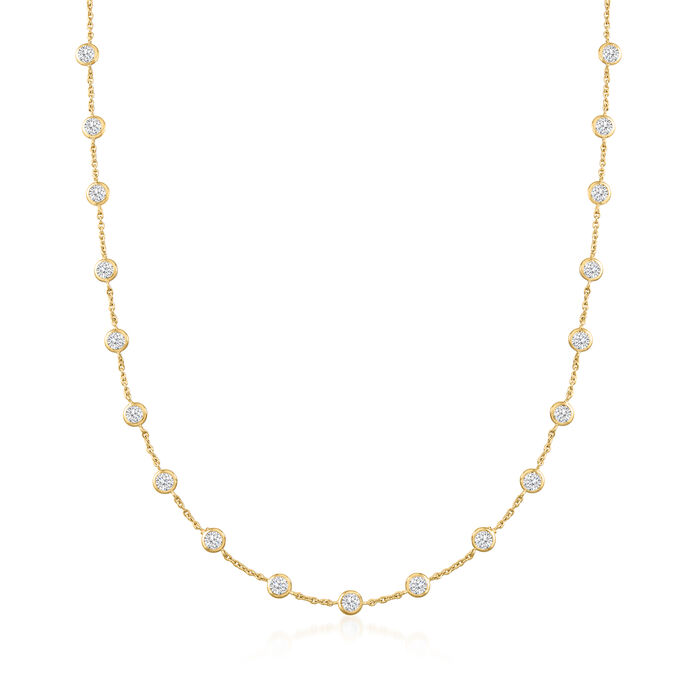 10.00 ct. t.w. Bezel-Set CZ Station Necklace in 18kt Gold Over Sterling