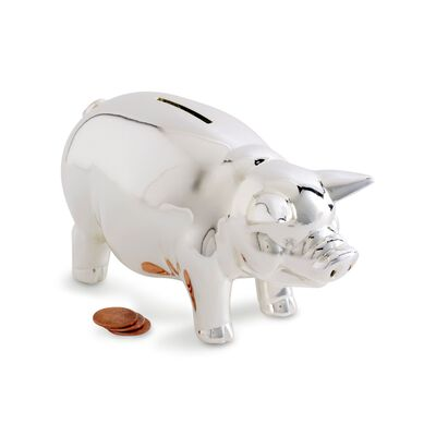 Reed & Barton Classic Silverplate Piggy Bank , , default