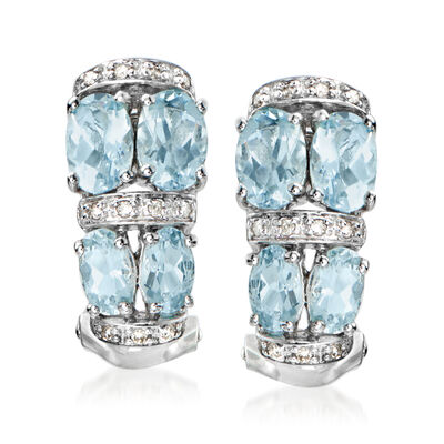 2.30 ct. t.w. Aquamarine and Diamond-Accented Earrings in 14kt White Gold, , default