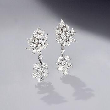 C. 1970 Vintage 15.50 ct. t.w. Diamond Drop Earrings in Platinum, , default