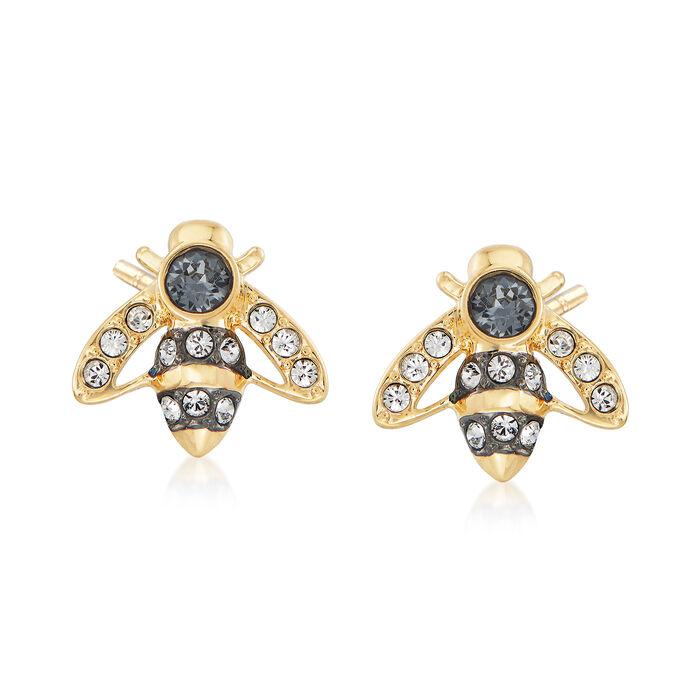 """Swarovski Crystal """"Magnetic"""" Bee Stud Earrings in Gold-Plated Metal"""