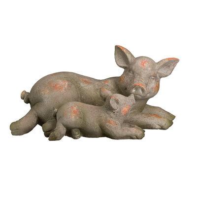 Regal Mother and Baby Pig Outdoor Garden Statue, , default