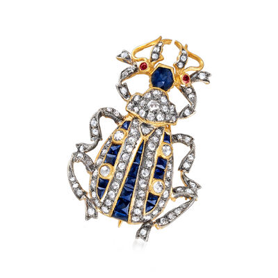 C. 1950 Vintage 1.50 ct. t.w. Diamond and .90 ct. t.w. Sapphire Bug Pin in 14kt Gold Over Sterling