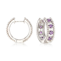 "Andrea Candela ""Cava"" 1.60 ct. t.w. Amethyst Hoop Earrings in Sterling Silver, , default"