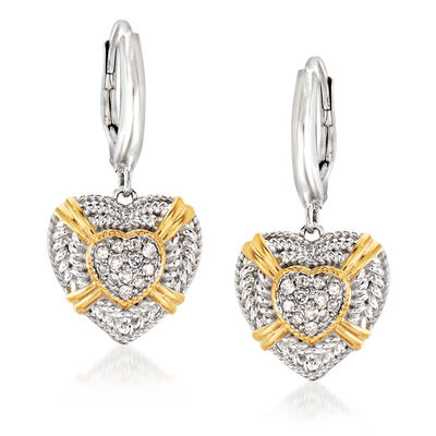 .25 ct. t.w. Diamond Heart Drop Earrings in Sterling Silver and 18kt Gold Over Sterling