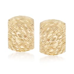 "Italian 18kt Yellow Gold Wide Diamond-Cut Hoop Earrings. 1/2"", , default"