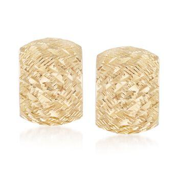"""Italian 18kt Yellow Gold Wide Diamond-Cut Hoop Earrings. 1/2"""", , default"""