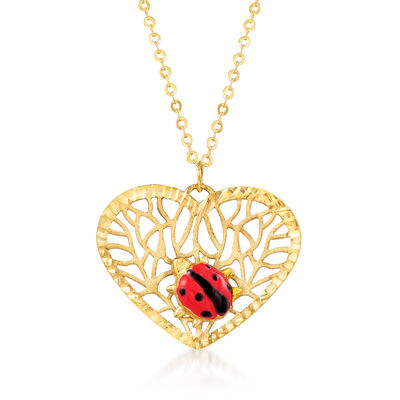 Italian 14kt Yellow Gold Openwork Heart Ladybug Pendant Necklace