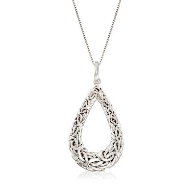 Sterling Silver Byzantine Teardrop Pendant Necklace, , default