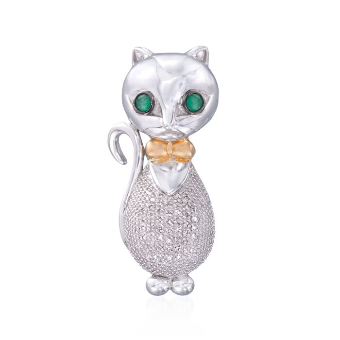 .10 ct. t.w. Diamond Bow-Tied Cat Pendant with Emeralds in Two-Tone
