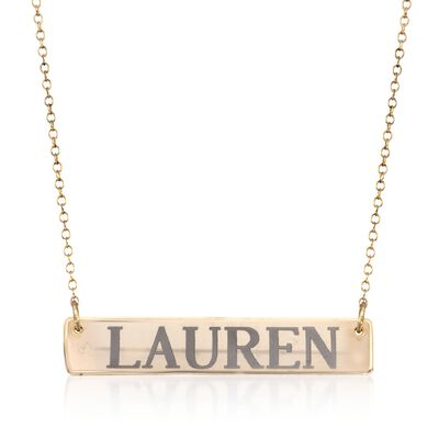 24kt Yellow Gold Over Sterling Silver Name Bar Necklace, , default