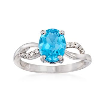 2.40 Carat Blue Topaz and .10 ct. t.w. Diamond Ring in Sterling Silver, , default