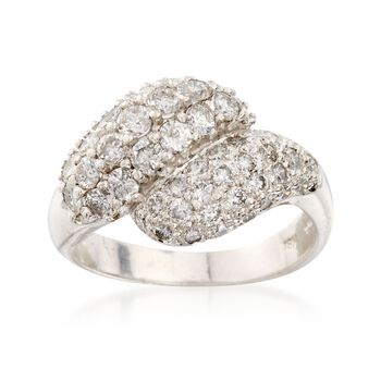 C. 1990 Vintage 1.75 ct. t.w. Diamond Cluster Bypass Ring in 14kt White Gold. Size 6.5, , default