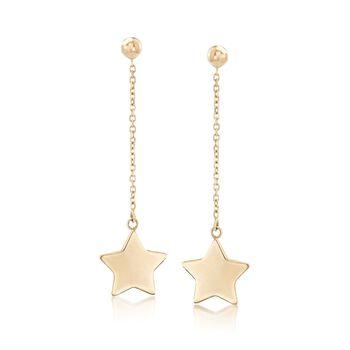Italian 14kt Yellow Gold Star Drop Earrings, , default