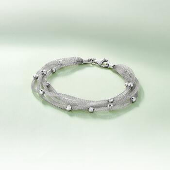 Italian Sterling Silver Five-Strand Beaded Mesh Bracelet, , default
