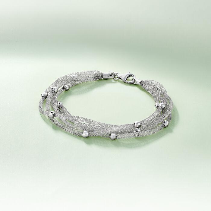Italian Sterling Silver Five-Strand Beaded Mesh Bracelet