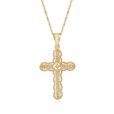 14kt Yellow Gold Openwork Cross Pendant Necklace