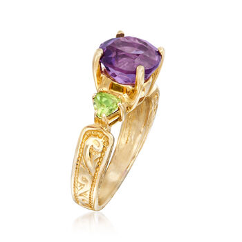 C. 1990 Vintage 1.00 Carat Amethyst and .50 ct. t.w. Peridot Ring in 10kt Yellow Gold. Size 7, , default