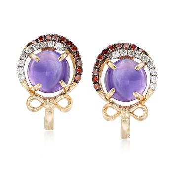 2.50 ct. t.w. Amethyst and .27 ct. t.w. Diamond Earrings in 14kt Yellow Gold, , default