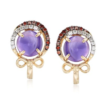 2.50 ct. t.w. Amethyst and .27 ct. t.w. Cognac and White Diamond Earrings in 14kt Yellow Gold, , default