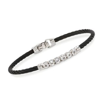 "ALOR ""Burano"" 1.30 ct. t.w. White Topaz Black Cable Bracelet With 14kt White Gold. 7"", , default"