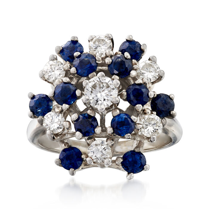 C. 1970 Vintage 1.30 ct. t.w. Sapphire and .75 ct. t.w. Diamond Cluster Ring in 14kt White Gold. Size 5.5