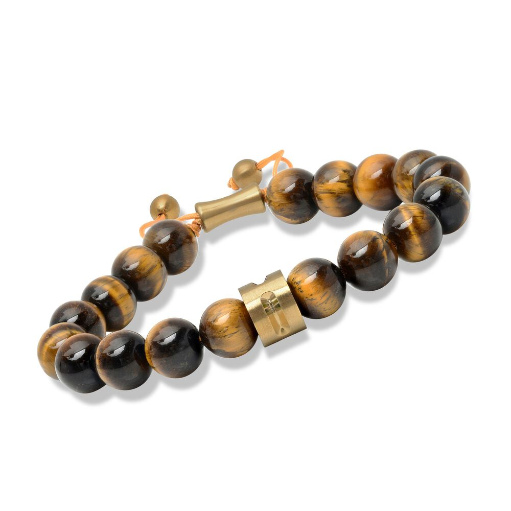 Men S Tiger S Eye Bead Bolo Bracelet With Yellow Stainless