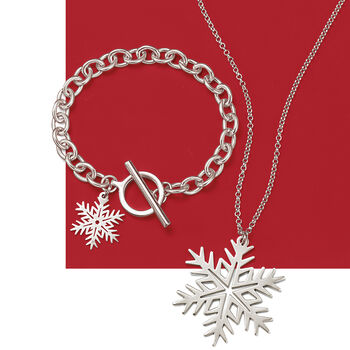 Sterling Silver Large Snowflake Pendant Necklace